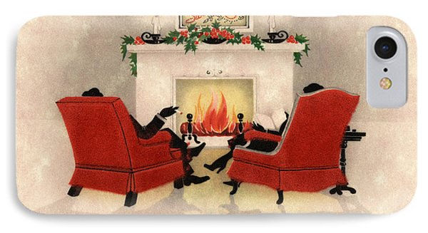Couple Sitting Before Roaring Fireplace On Christmas Eve IPhone Case by American School