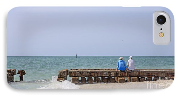 Couple Sitting On An Old Jetty Siesta Key Beach Florida Phone Case by Edward Fielding