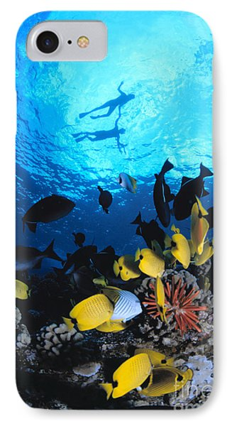 Couple Snorkels At Surfac Phone Case by Ed Robinson - Printscapes