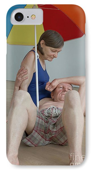Couple Under An Umbrella By Ron Mueck IPhone Case by Patricia Hofmeester