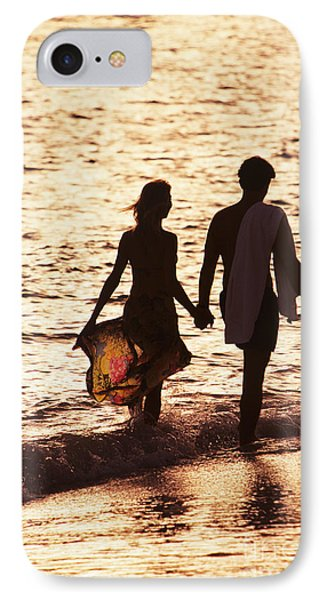 Couple Wading In Ocean Phone Case by Larry Dale Gordon - Printscapes