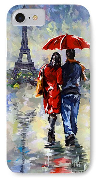 couple walking in the rain Paris IPhone Case by Tim Gilliland