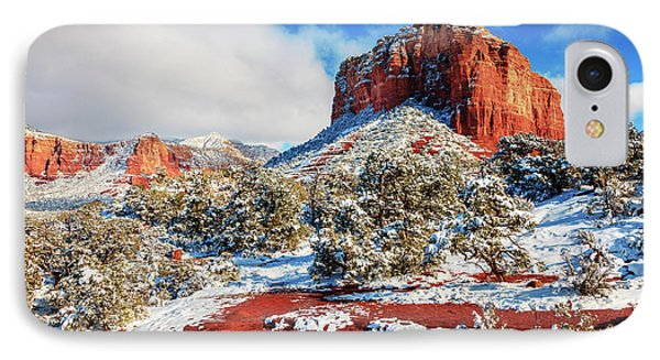 Courthouse Butte Under Snow IPhone Case by Alexey Stiop