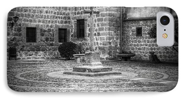 Courtyard At Convent Of The Incarnation Bw IPhone Case by Joan Carroll