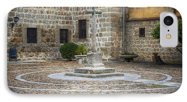 Courtyard At Convent Of The Incarnation IPhone Case by Joan Carroll