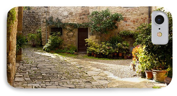 Courtyard In Montefioralle Phone Case by Rae Tucker