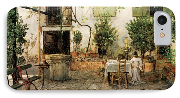 Courtyard In Venice IPhone Case by William Merrit Chase