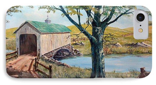 Covered Bridge, Americana, Folk Art IPhone Case by Lee Piper