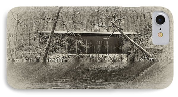 Covered Bridge In Black And White Phone Case by Bill Cannon