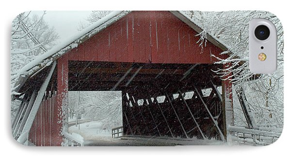 Covered Bridge In Snow IPhone Case by Don Mennig