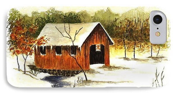 Covered Bridge In The Snow Phone Case by Michael Vigliotti
