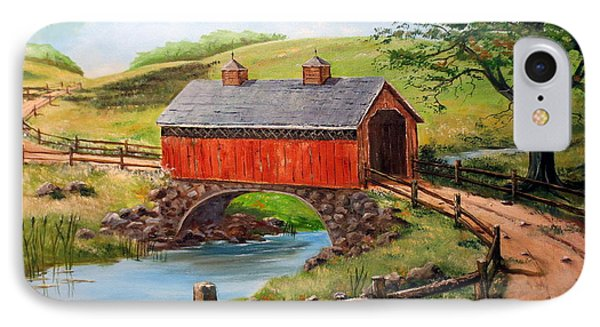 Covered Bridge Country Farm Folk Art Landscape IPhone Case by Lee Piper