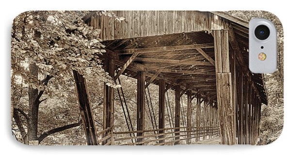 Covered Bridge  Sepia Tone IPhone Case by Mindy Sommers