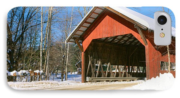 Covered Bridge, Stowe, Winter, Vermont IPhone Case by Panoramic Images