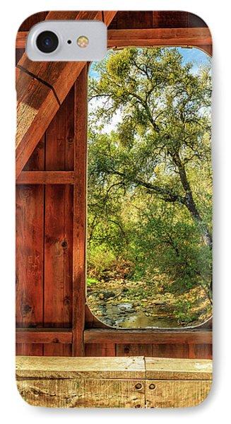 Covered Bridge Window IPhone Case by James Eddy