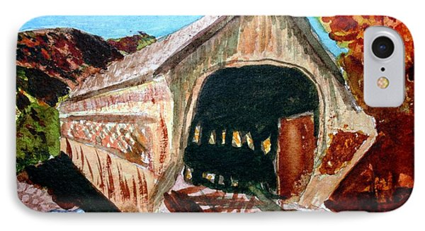 IPhone Case featuring the painting Covered Bridge Woodstock Vt by Donna Walsh