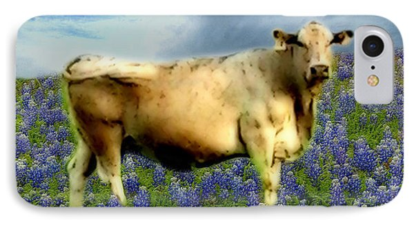 IPhone Case featuring the photograph Cow And Bluebonnets by Barbara Tristan