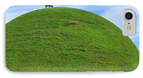 Cow Eating On Round Top Hill Phone Case by Mike McGlothlen