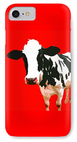 Cow In Red World IPhone 7 Case by Peter Oconor