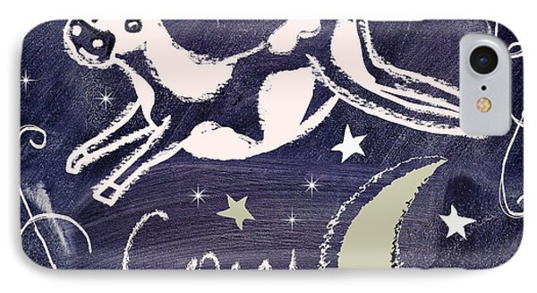 Cow Jumped Over The Moon Chalkboard Art IPhone 7 Case by Mindy Sommers