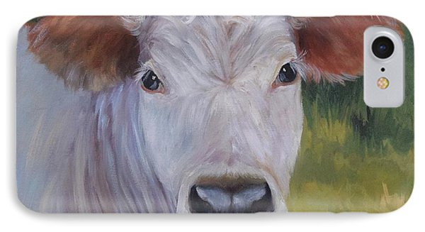 Cow Painting Ms Ivory IPhone Case by Cheri Wollenberg