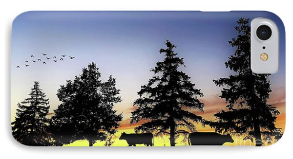 Cow Silhouette IPhone Case by Anthony Djordjevic