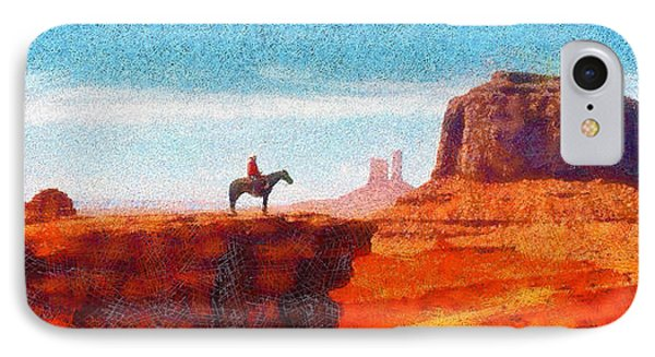 Cowboy At Monument Valley In Utah - Pa IPhone Case by Leonardo Digenio