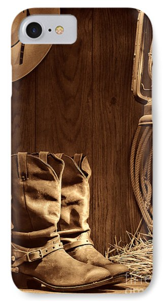 Cowboy Boots At The Ranch IPhone Case by American West Legend By Olivier Le Queinec