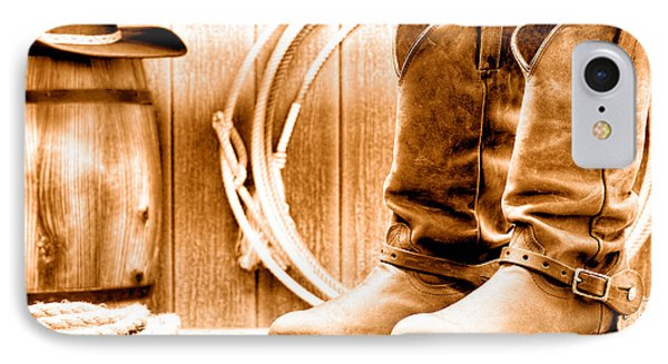 Cowboy Boots On The Deck - Sepia IPhone Case