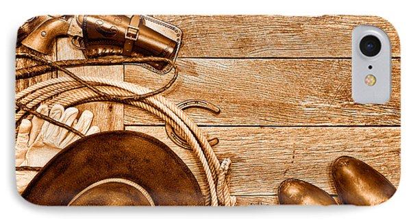 Cowboy Gear - Sepia IPhone Case by Olivier Le Queinec
