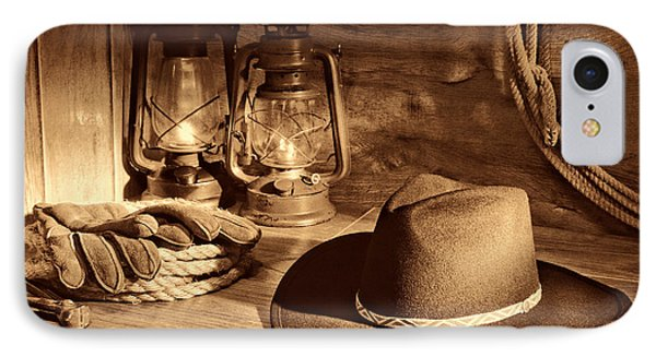 Cowboy Hat And Kerosene Lanterns IPhone Case by American West Legend By Olivier Le Queinec