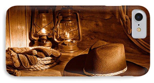 Cowboy Hat And Kerosene Lanterns - Sepia IPhone Case by Olivier Le Queinec