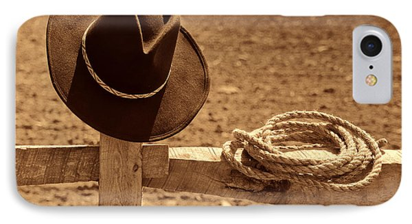 Cowboy Hat And Rope On A Fence IPhone Case by American West Legend By Olivier Le Queinec