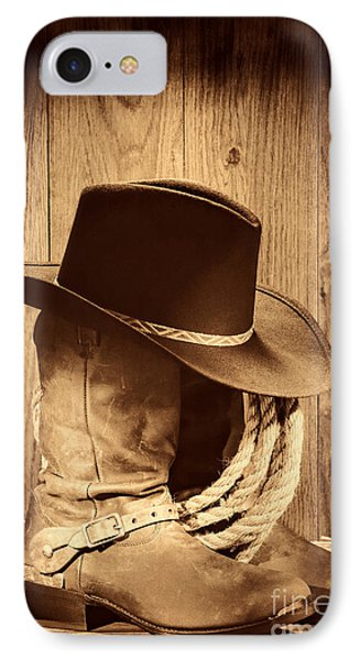 Cowboy Hat On Boots IPhone Case by American West Legend By Olivier Le Queinec