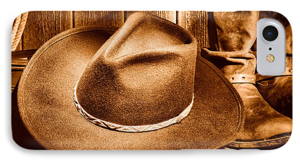 Cowboy Hat On Floor - Sepia IPhone Case by Olivier Le Queinec