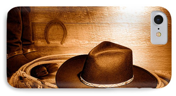 Cowboy Hat On Lasso - Sepia IPhone Case by Olivier Le Queinec