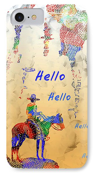 Cowboy Hello - Vintage Cowboy And Western Illustration IPhone Case by Rayanda Arts