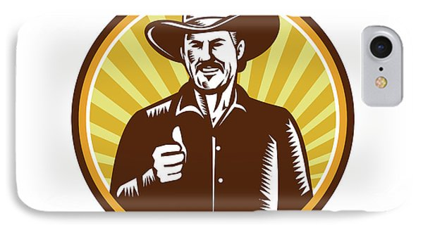 Cowboy Thumbs Up Sunburst Circle Woodcut IPhone Case