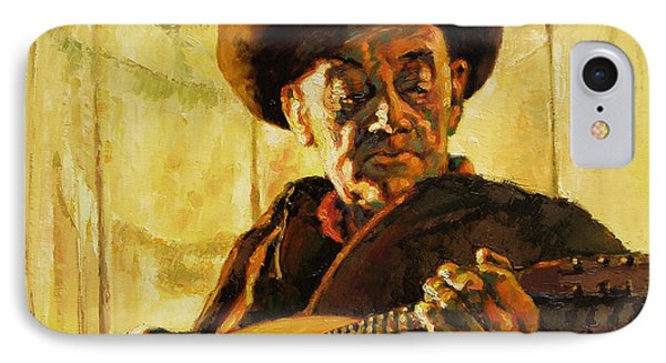 Cowboy With Mandolin Phone Case by John Lautermilch