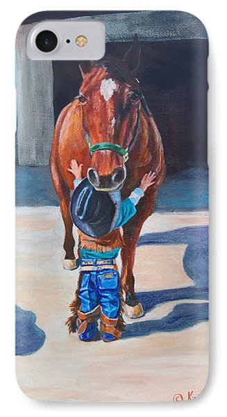 IPhone Case featuring the painting Cowboy's First Love by Karen Kennedy Chatham