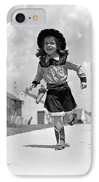 Cowgirl Running Down Sidewalk, C.1950s IPhone Case by H. Armstrong Roberts/ClassicStock