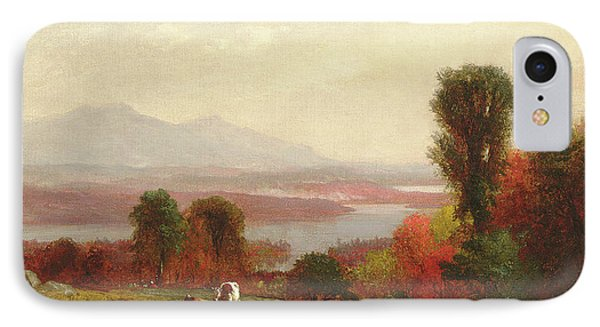 Cows And Sheep Grazing In An Autumn River Landscape IPhone Case