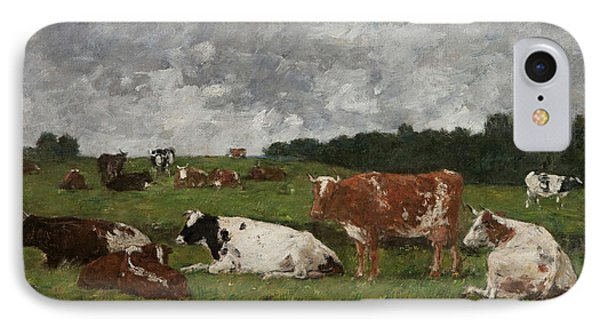 Cows At The Pasture IPhone 7 Case by Eugene Louis Boudin