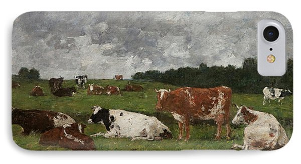 Cows At The Pasture IPhone Case by Eugene Louis Boudin