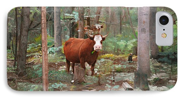 IPhone Case featuring the painting Cows In The Woods by Joshua Martin