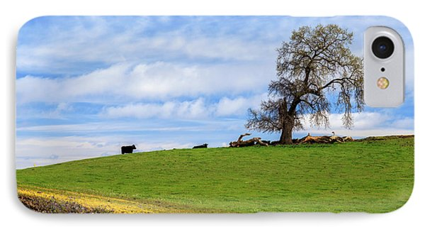 IPhone Case featuring the photograph Cows On A Spring Hill by James Eddy
