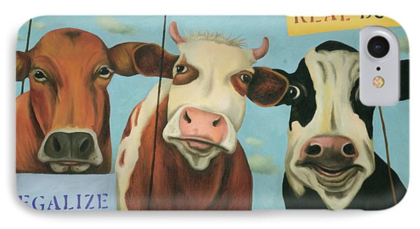 Cows On Strike IPhone Case by Leah Saulnier The Painting Maniac