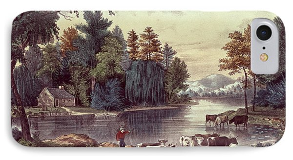 Cows On The Shore Of A Lake Phone Case by Currier and Ives