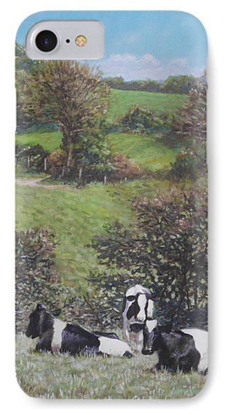 IPhone Case featuring the painting Cows Sitting By Hill Relaxing by Martin Davey
