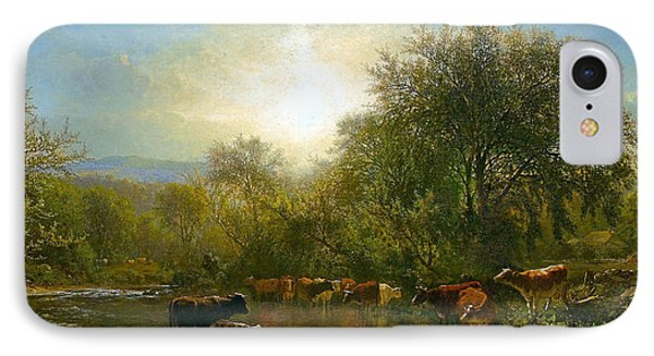 Cows Watering IPhone Case by James McDougal Hart